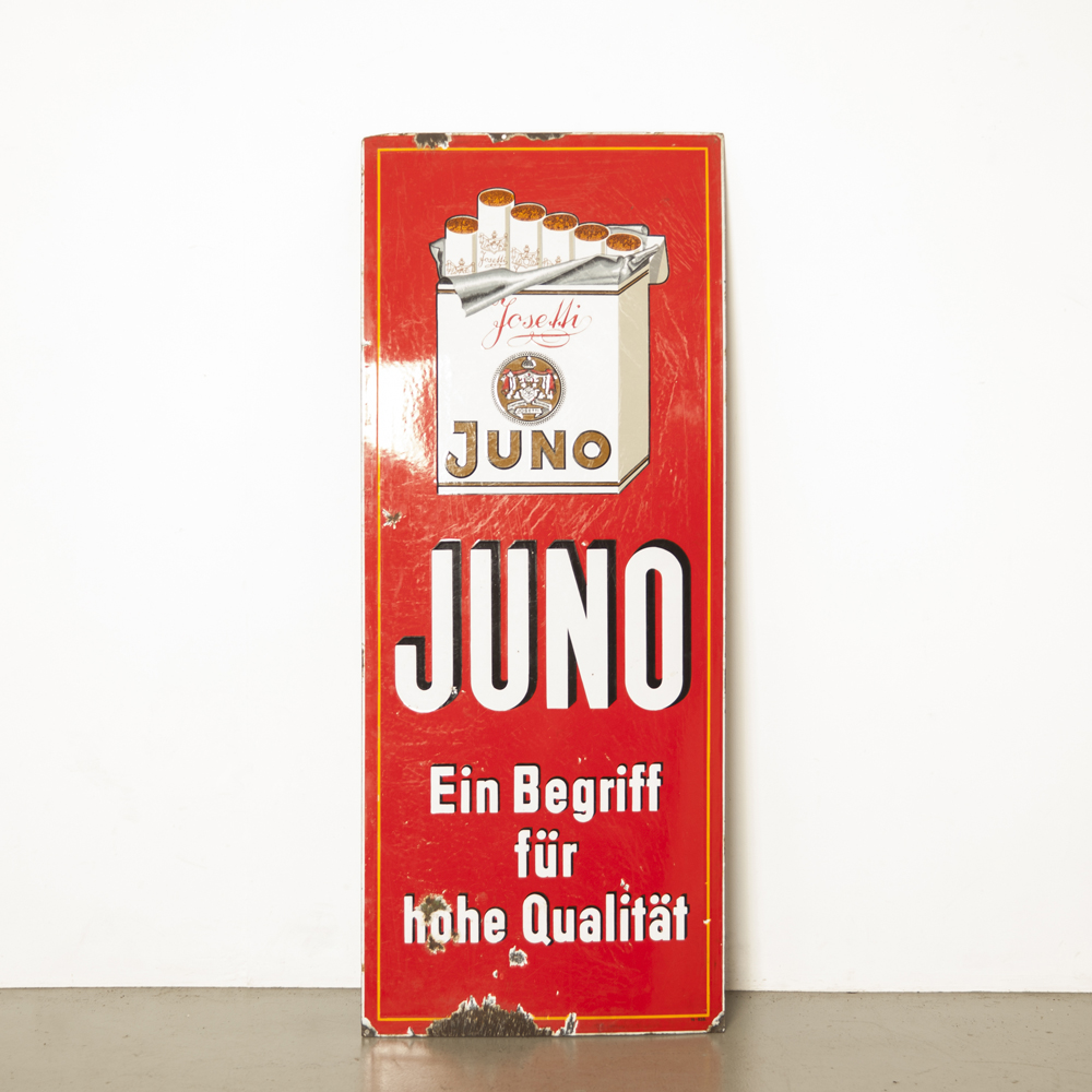 Juno enamel advertising board sign Josetti Begriff Qualität German red white cigarette smoking wall art wall object decoration mood maker vintage retro brocante industrial billboard