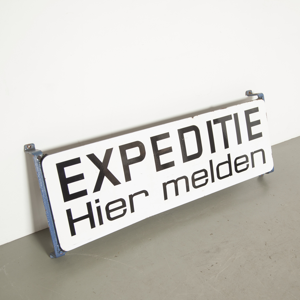Enamel board sign EXPEDITIE Hier melden white black industrial wall art wall object decoration mood maker advertising vintage retro brocante billboard Expedition Here