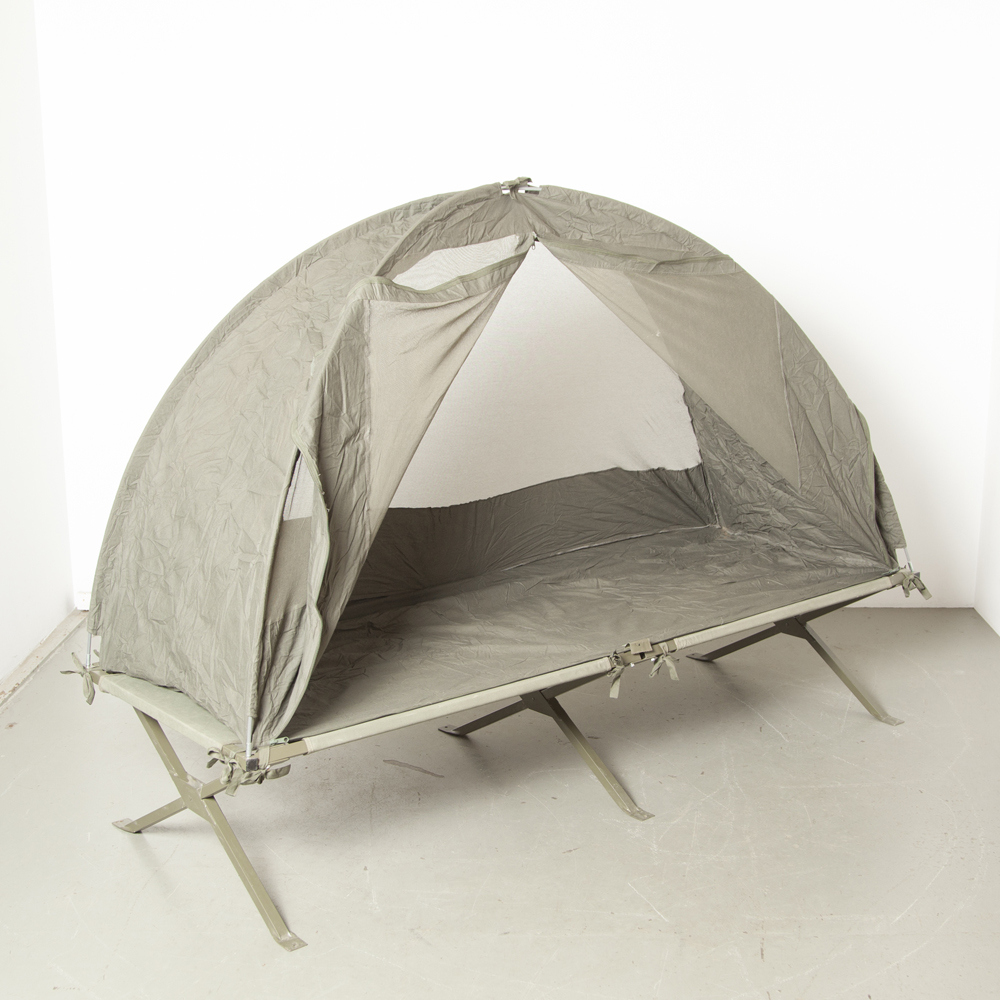 Army bed mosquito net tent insects frame arch bow folding bed camping guest French metal frame canvas army olive green transport bag industrial sturdy indestructible portable