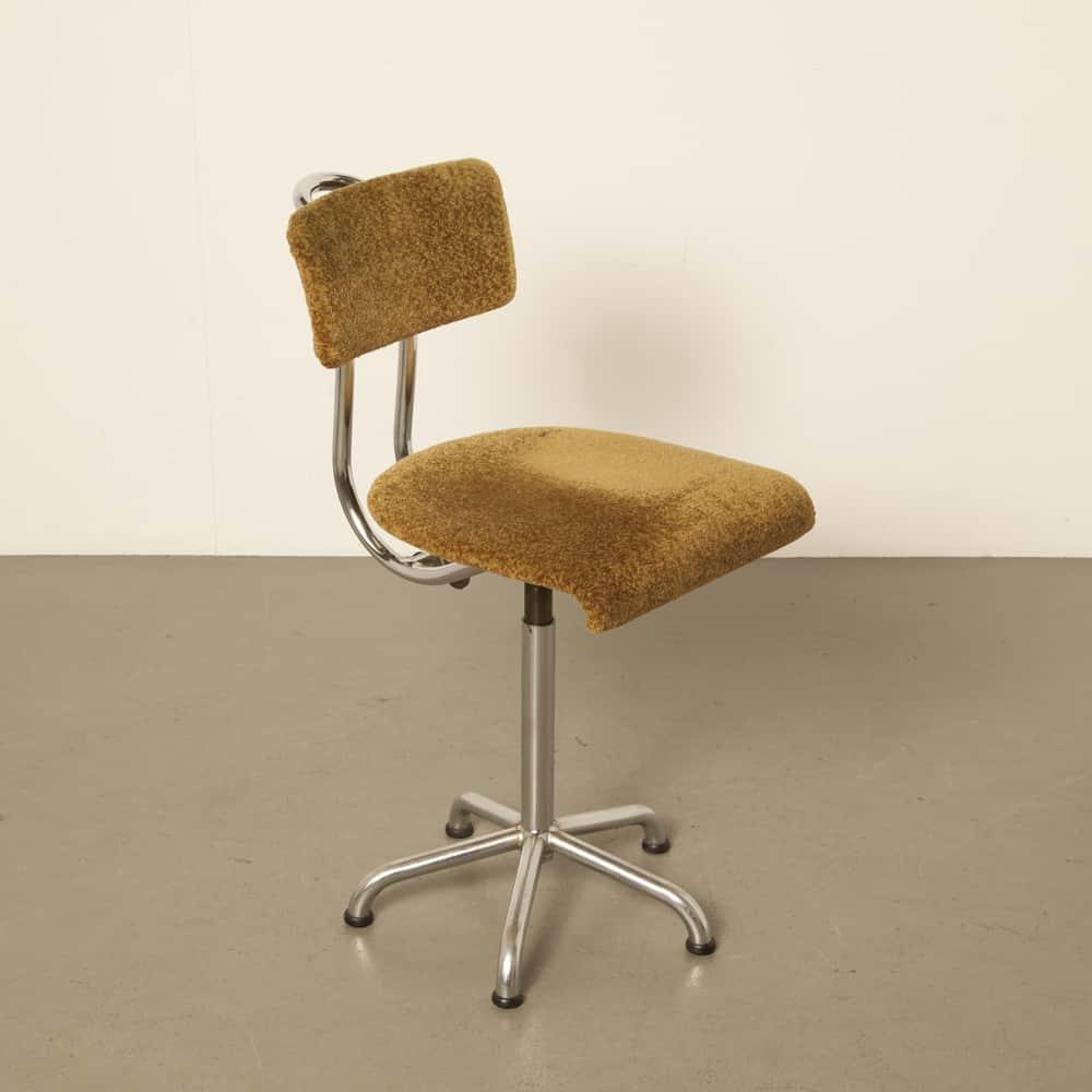 De Wit Schiedam офисный стул рабочий стол велюр gebroeders Toon никелевая трубка рама 1950-е годы пятидесятые винтаж ретро индустриальный