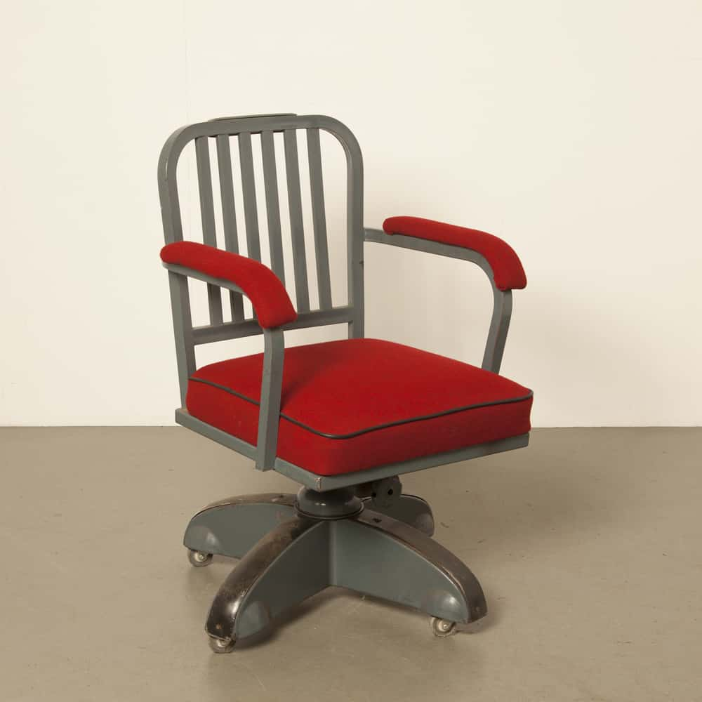 Red Kingsit office chair Ahrend Cirkel no 7500 with lattice back new upholstery retro vintage 1930s thirties industrial