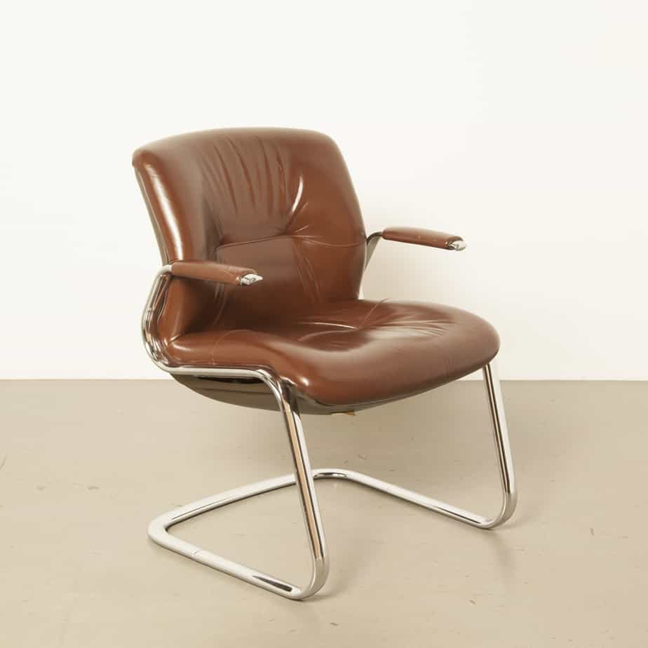 Steelcase Strafor Clark椅子办公室铬管S滑道框架棕色填充垫皮革扶手办公桌会议工作老式复古70年代1970年代七十年代