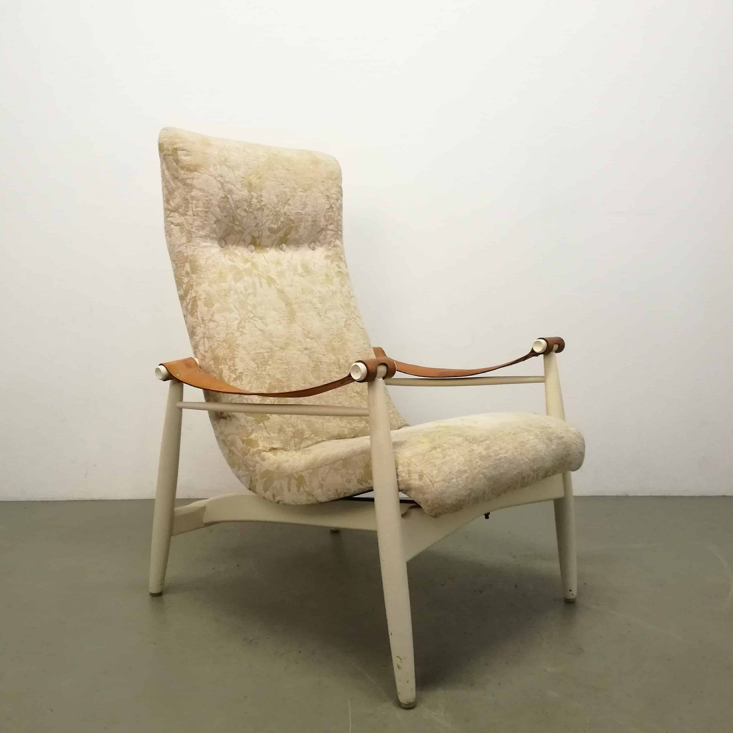 chair-armchair-pj-muntendam-gebroeders-jonkers-mid-century-dutch-years-60-1960-wood-leather