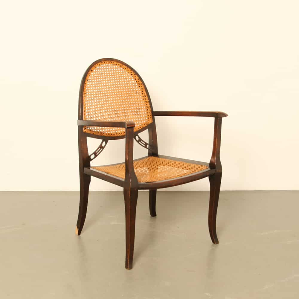 Viennese 1930s chair woven reed cane Wicker