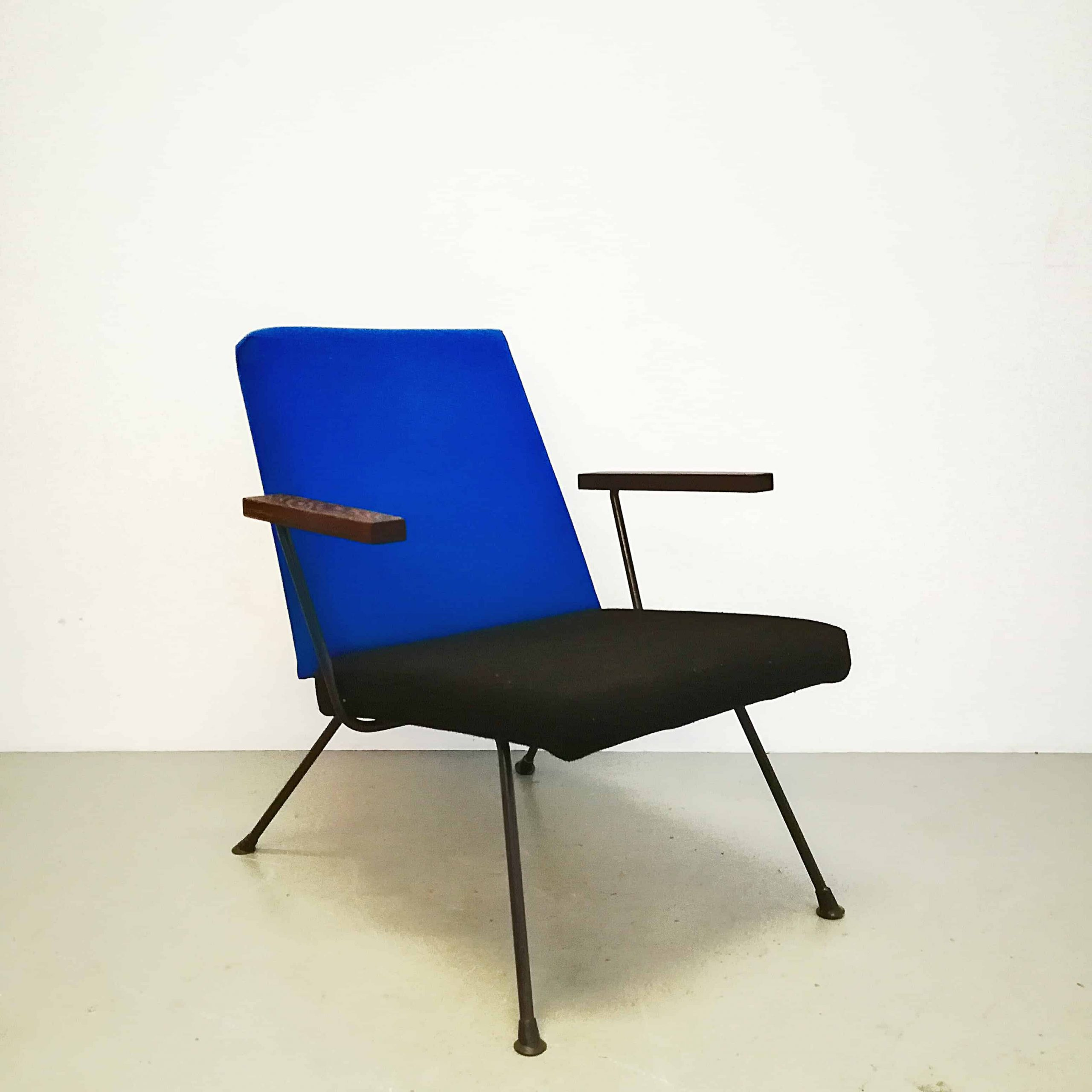 chaise-fauteuil-gispen-model-1409-cordemeyer-metal-wood-accoudoirs-teak-1959-1950's-years-50-design-dutch
