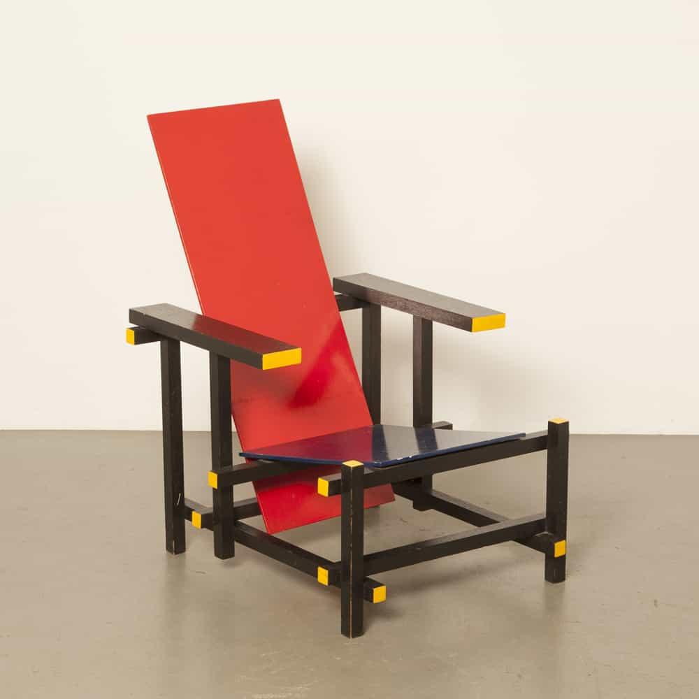 كرسي أزرق أحمر كرسي بذراعين Gerrit Rietveld De Stijl Schröder منزل أوتريخت خمر الهولندية تصميم كلاسيكي يدوي الحد الأدنى Redblue