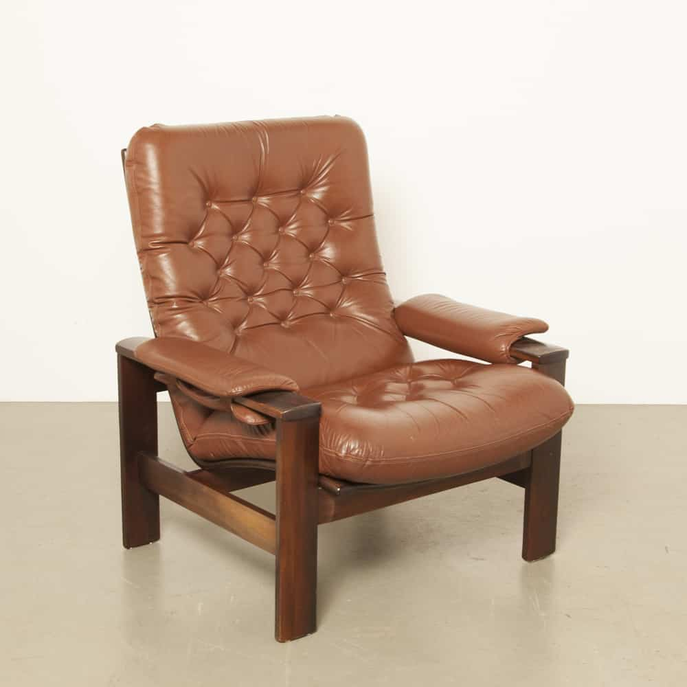 Coja armchair high man padded cognac brown leather dark wood 70s 1970s seventies vintage retro Denmark Danish design