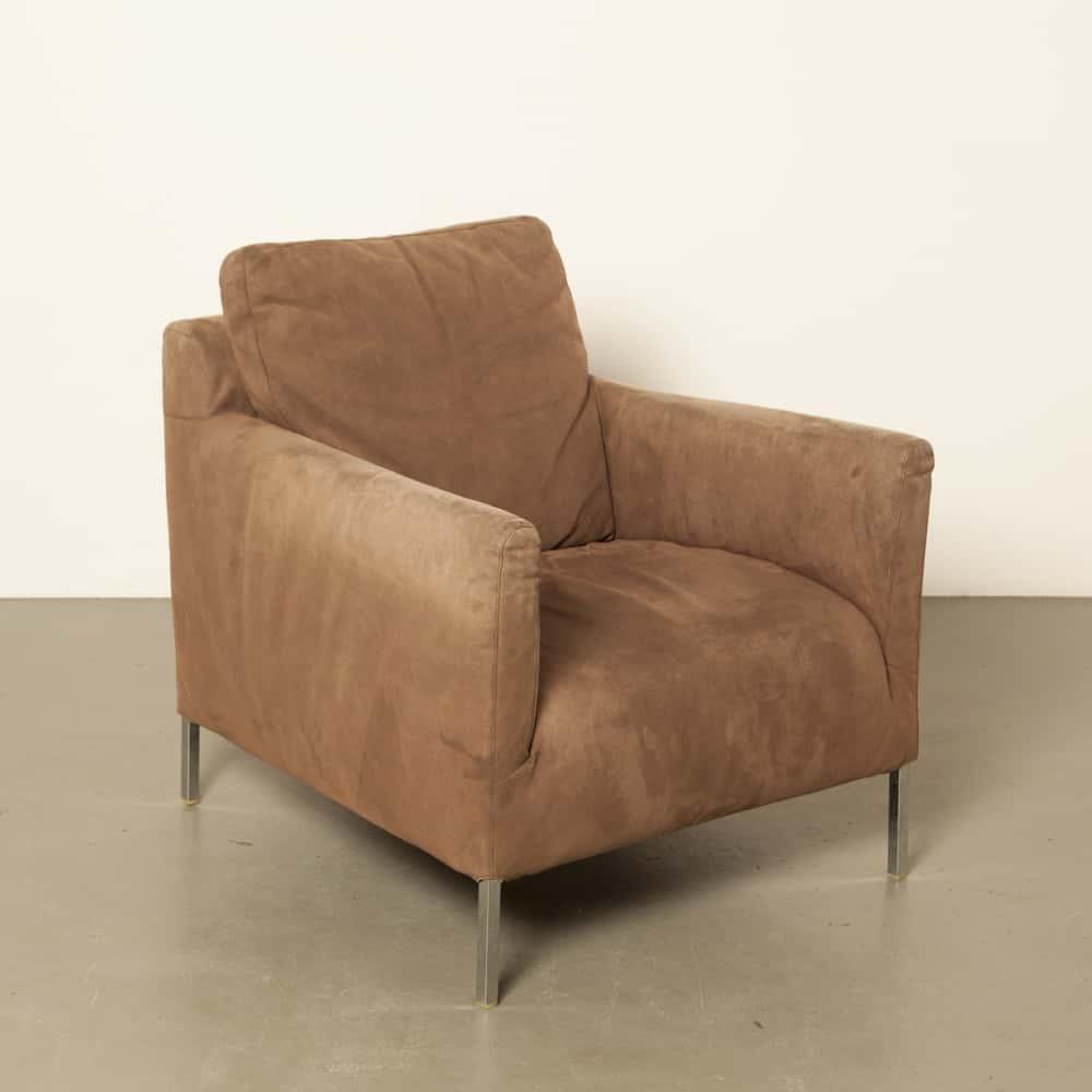 Solo brown suede B&B Italia Antonio Citterio Maxalto contemporary armchair lounge chair secondhand design Italy Italian modern