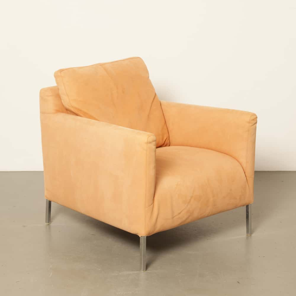 Solo salmon suede B&B Italia Antonio Citterio Maxalto contemporary armchair lounge chair secondhand design Italy Italian modern
