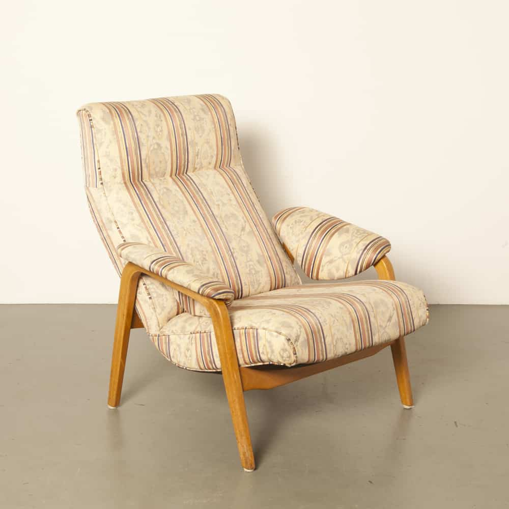 Mod 137 Lounge Chair Theo Ruth Artifort Netherlands armchair new upholstery blond wood 50s 1950s fifties vintage retro Dutch design