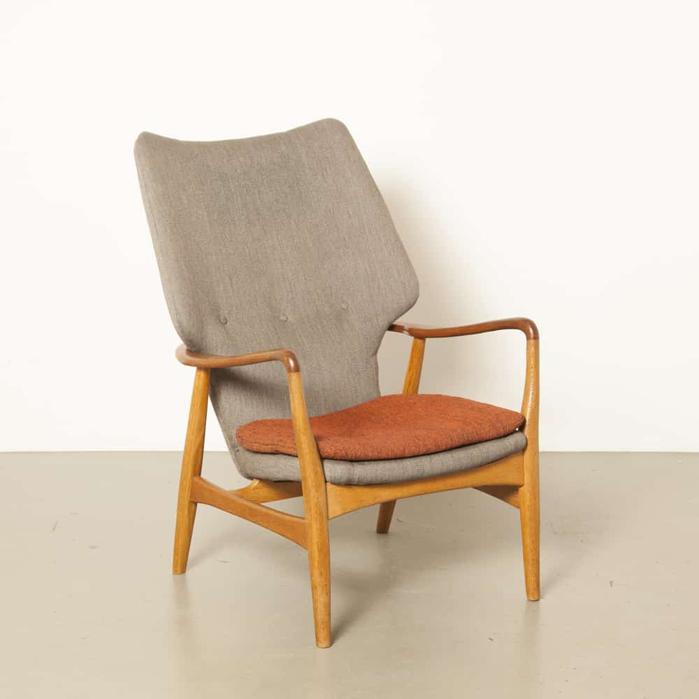 high armchair easy-chair Bovenkamp Danish Aksel Bender Madsen wingback oak woven wool upholstery Dutch fabrication 1960s sixties midcentury modern vintage retro