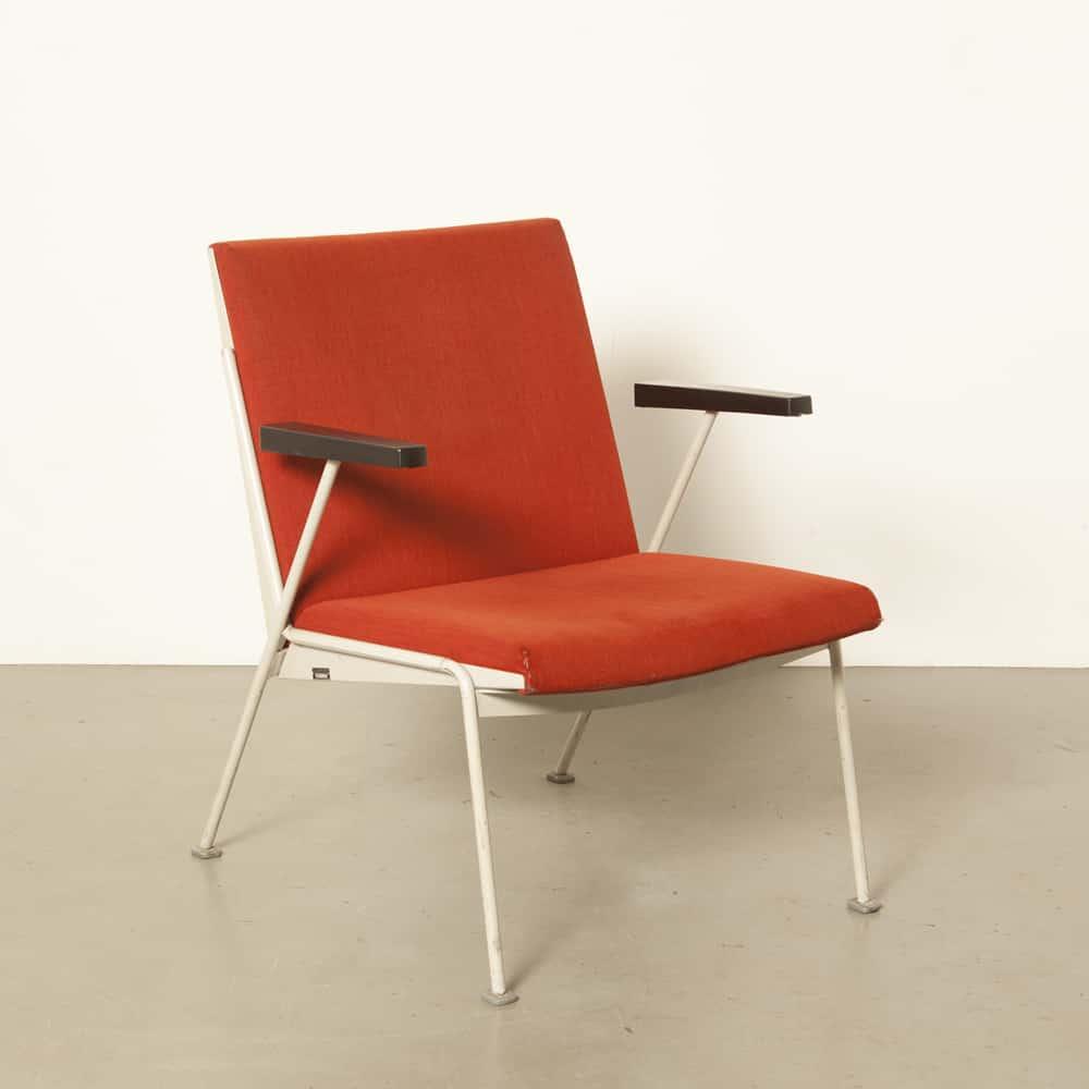 Wim Rietveld Oase stoel fauteuil rood origineel staal Ahrend Cirkel Dutch design klassiek vintage retro jaren 1950 50er jaren XNUMX