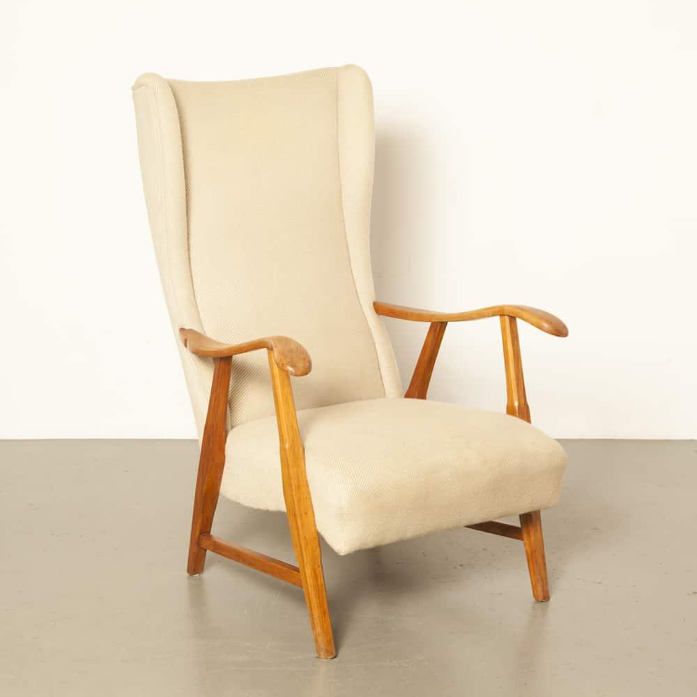كرسي بذراعين جلديرلاند دي ستير كريم تنجيد صوف بيج خشب أشقر عتيق عتيق خمسينيات وخمسينيات خمسينيات كرسي بتصميم هولندي