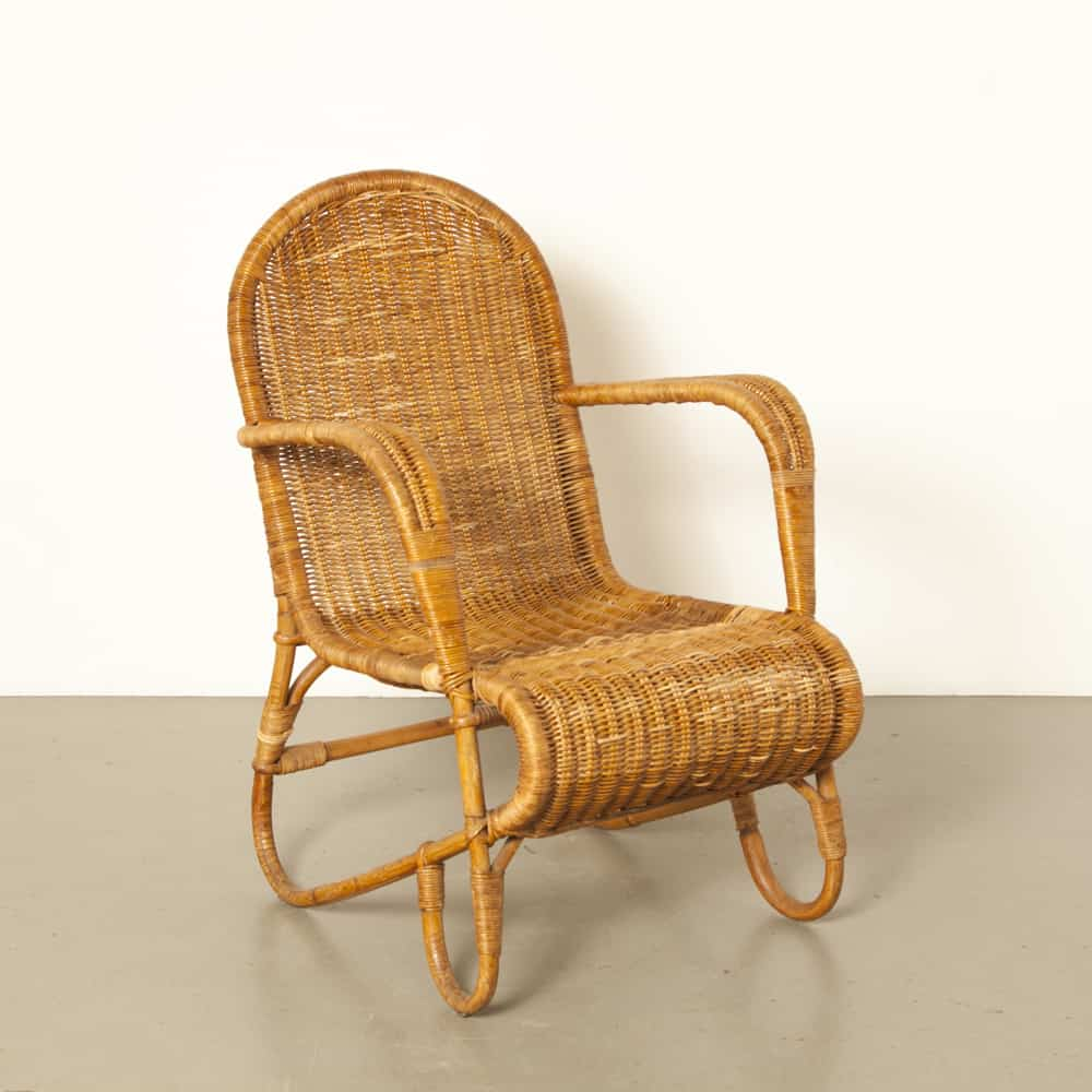 Rattan armchair cane bamboo frame chair Ridzon Koningsplein Amsterdam restored 50s 1950s fifties vintage retro midcentury modern