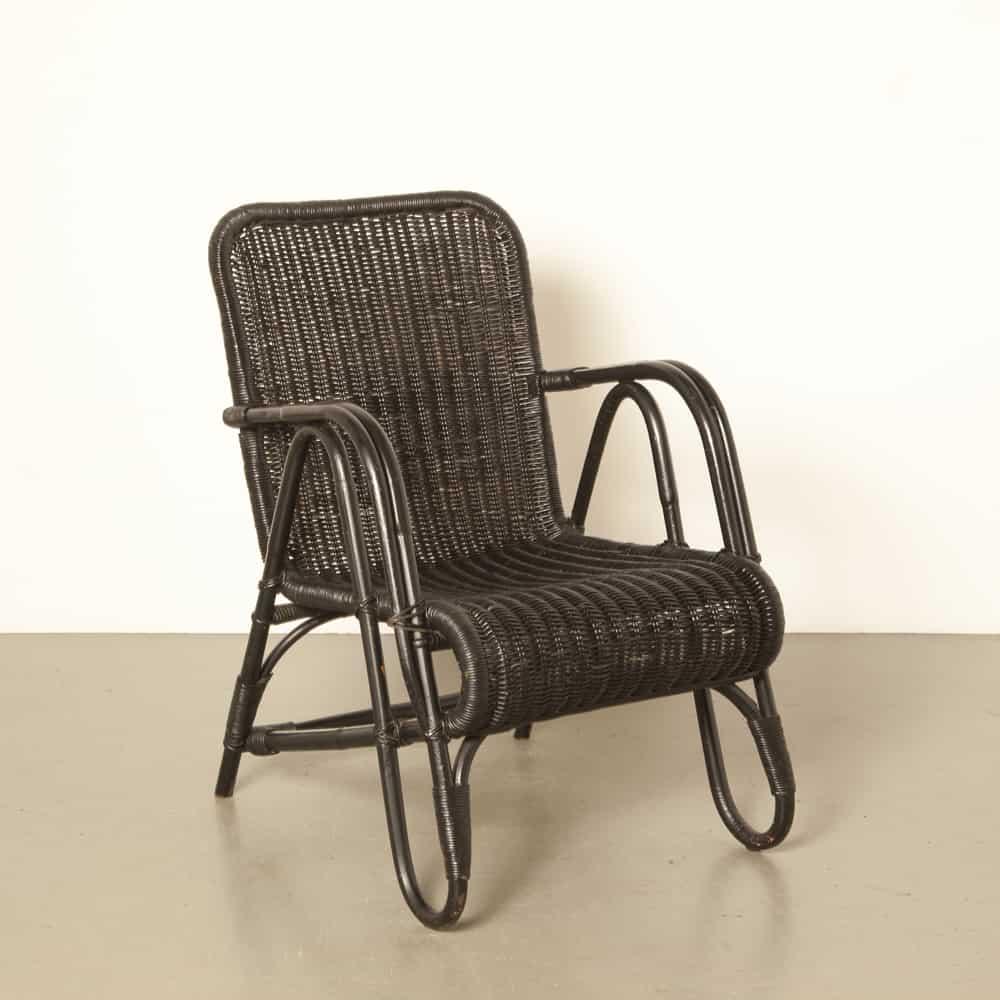 Erich Dieckmann rattan cane bamboo frame chair black Berlin Bauhaus restored geometric 40s vintage retro midcentury modern 1940s forties