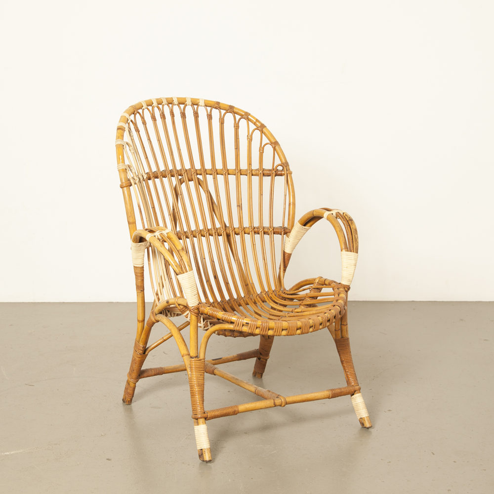 Rattan reed wicker bamboo frame Rohé Noordwolde armchair chair restored labeled curved bent 50s 1950s fifties vintage retro brocante dutch design