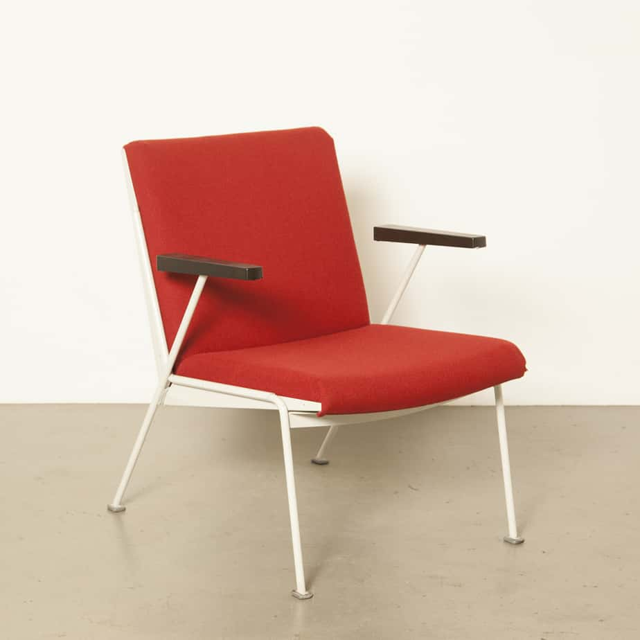 Wim Rietveld Oase 의자 안락 의자 Red Wool Original Ploeg Fabric 바 Steel Ahrend Cirkel Dutch design classic vintage retro 1950 년대 50 대