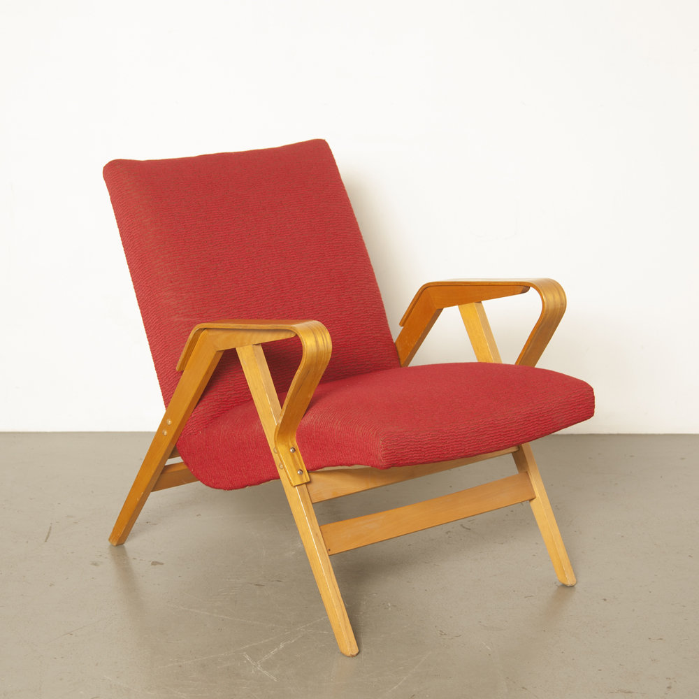 Armchair model 24-23 František Jirák Tatra Nabytok Czech Republic curved beech armrest frame original woven fabric red lounge 1950s chair vintage retro midcentury modern