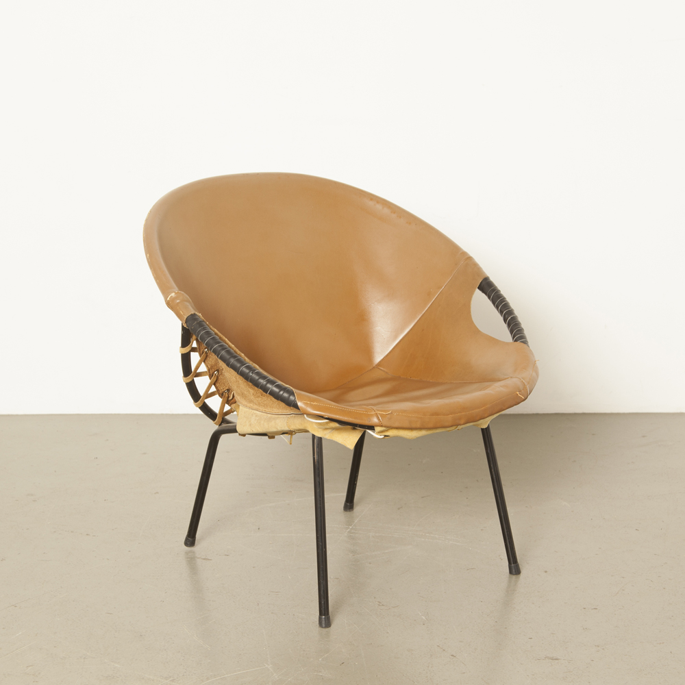 Circle Balloon armchair Lusch & Co Germany suede chair black tube steel frame legs 60s 1960s sixties midcentury modern vintage retro round design Lounge brown leather cover