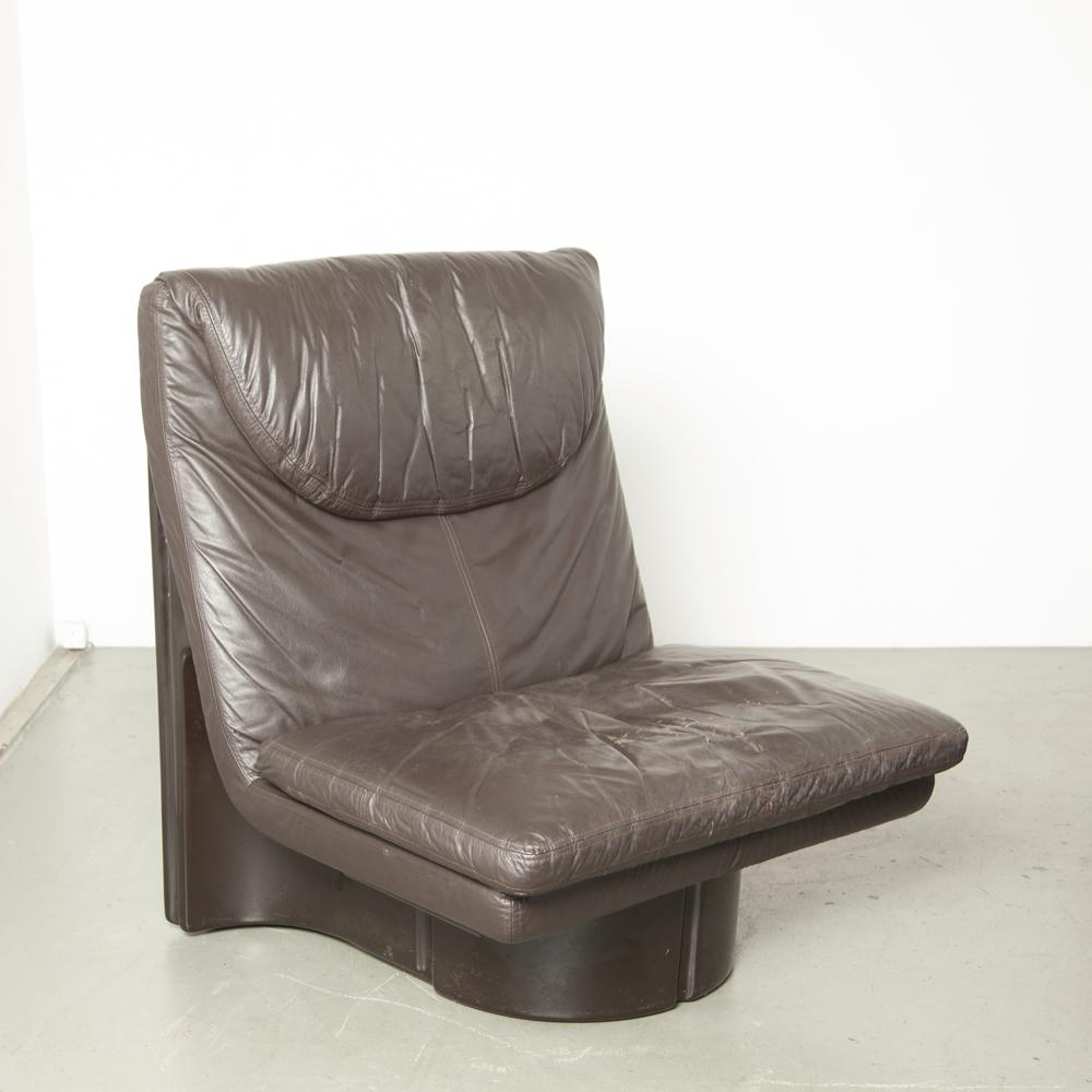 Il Poltronibile Quinta Ammannati Vitelli Comfort Italia sillón de la serie 175 sillón de fibra de vidrio cojín de cuero italiano original Space Age italiano moderno años 70 setenta marrón