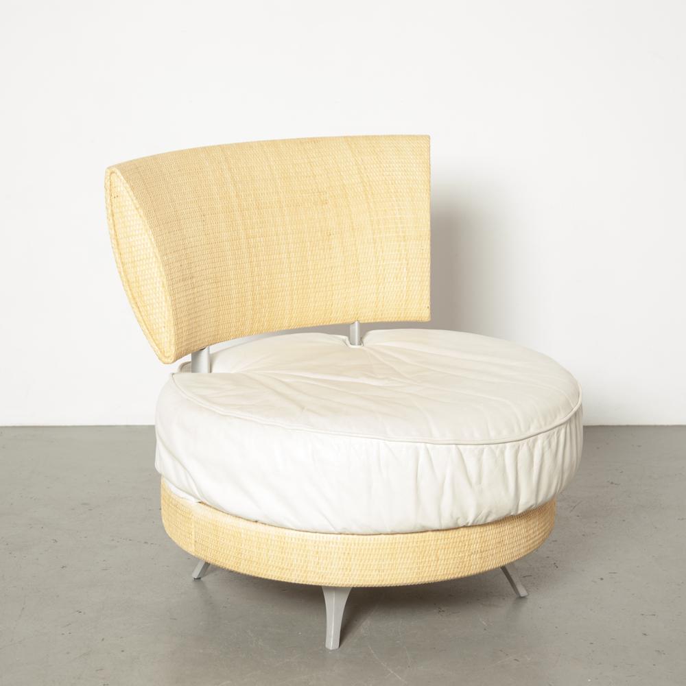 Mutabilis Sessel Giuseppe Viganò Bonacina Pierantonio Italien Biege Korbmatte zurück beige cremefarbenes Ledersitzkissen Lounge runde Sitzmöbel aus zweiter Hand Design der 1990er Jahre