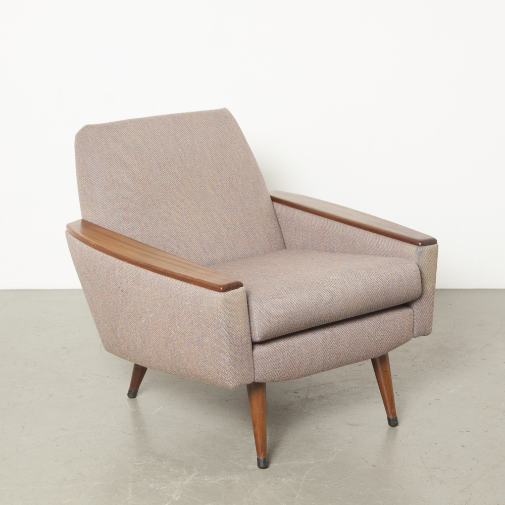 Lilac Armchair Bovenkamp style solid teak wood legs armrests Midcentury Modern 1950s fifties Danish Scandinavian vintage retro cushions reversible Ploegstoffen van de ploeg chair easy lounge