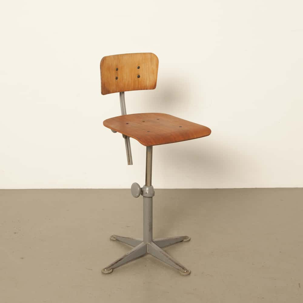 Ahrend Cirkel workstool work chair back gray powder coated steel Wim Rietveld Friso Kramer vintage retro 1960s sixties