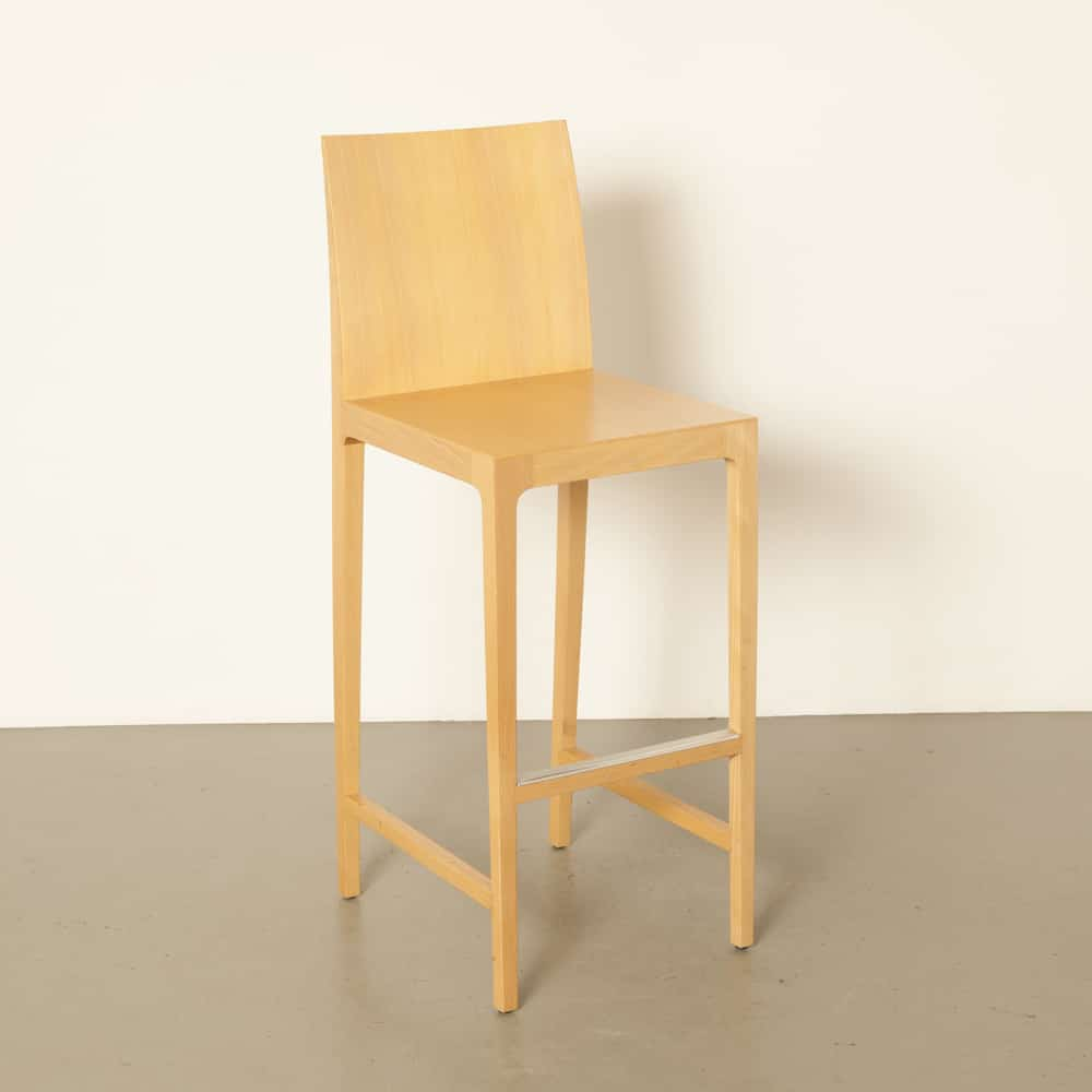 barstool blond wood solid beech legs beech curved bent plywood back modern design secondhand 00s 2000s Noughties