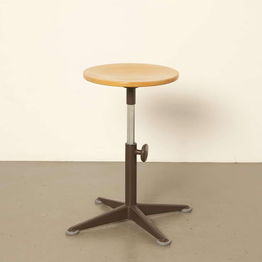 Ahrend Circle work stool Friso Kramer height adjustable wood plywood brown powder coated steel industrial vintage retro 50s 1950s fifties