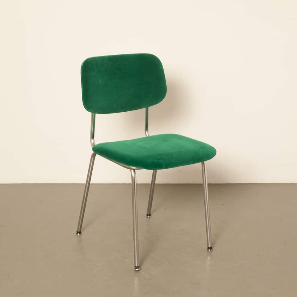 Gispen 1231 Cirrus new upholstery toxic green 1960s 60s vintage retro dutch design Cordemeyer bent chrome tubular steel dining chair
