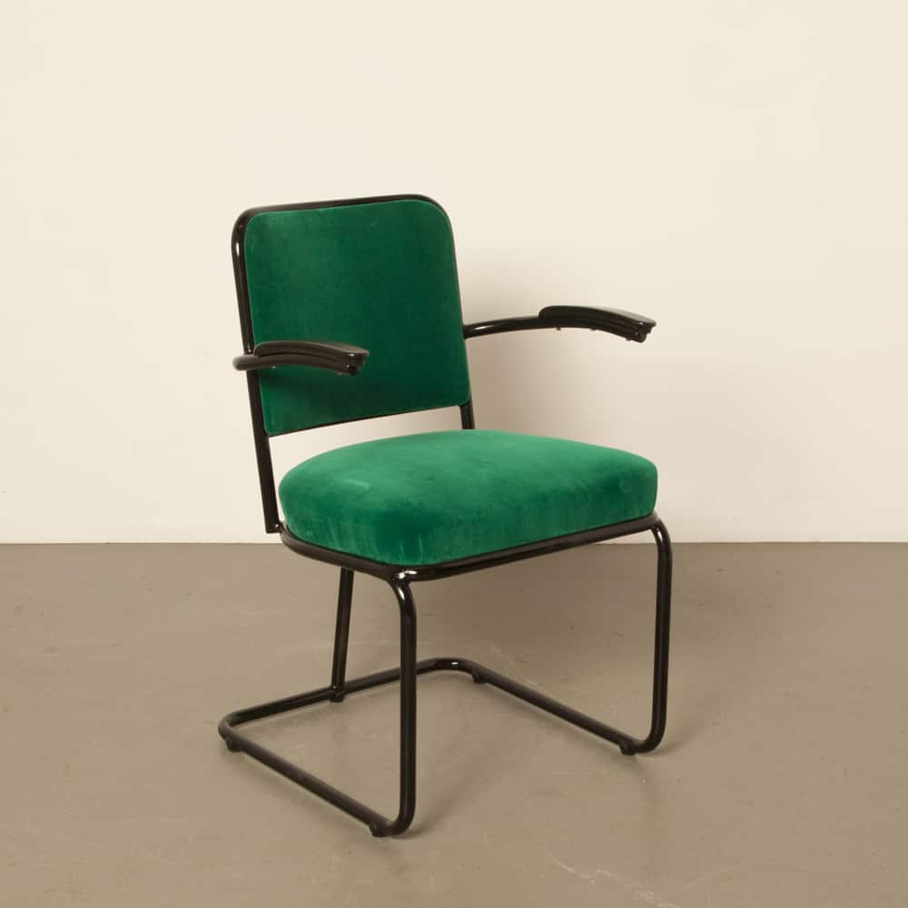 Old tubular steel chair new toxic green upholstery 1950s 50s vintage retro dutch design black