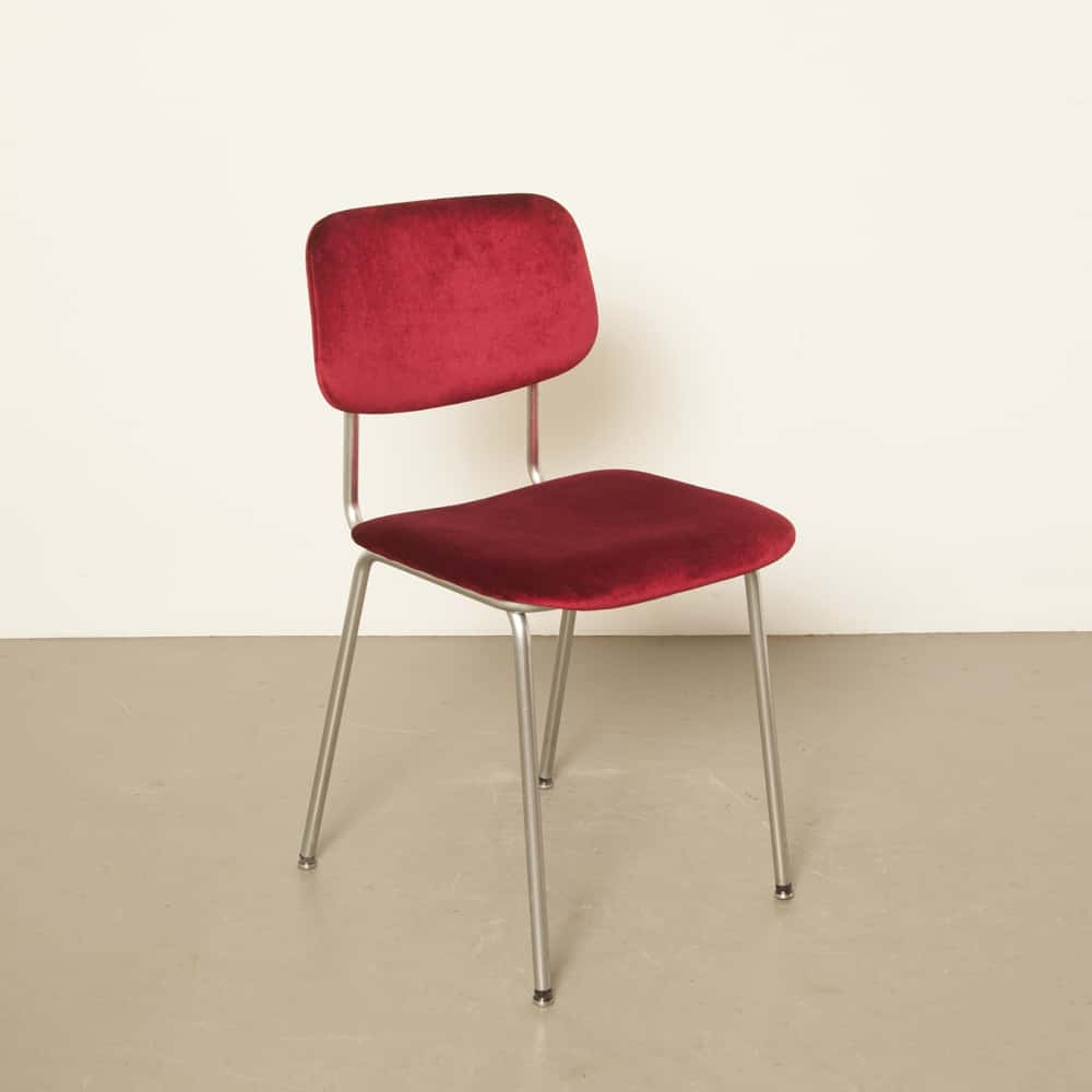 Gispen 1231 Cirrus new upholstery red 1960s 60s vintage retro dutch design Cordemeyer bent chrome tubular steel dining chair