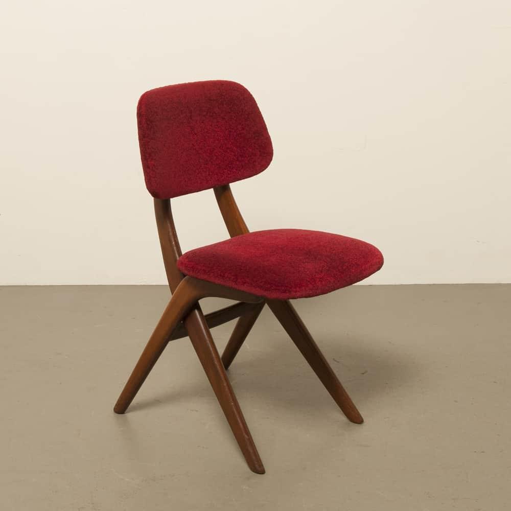 Louis van Teeffelen Webe Teak novo estofado bordeaux veludo vermelho que janta cadeiras 1960s sixties vintage retro frame