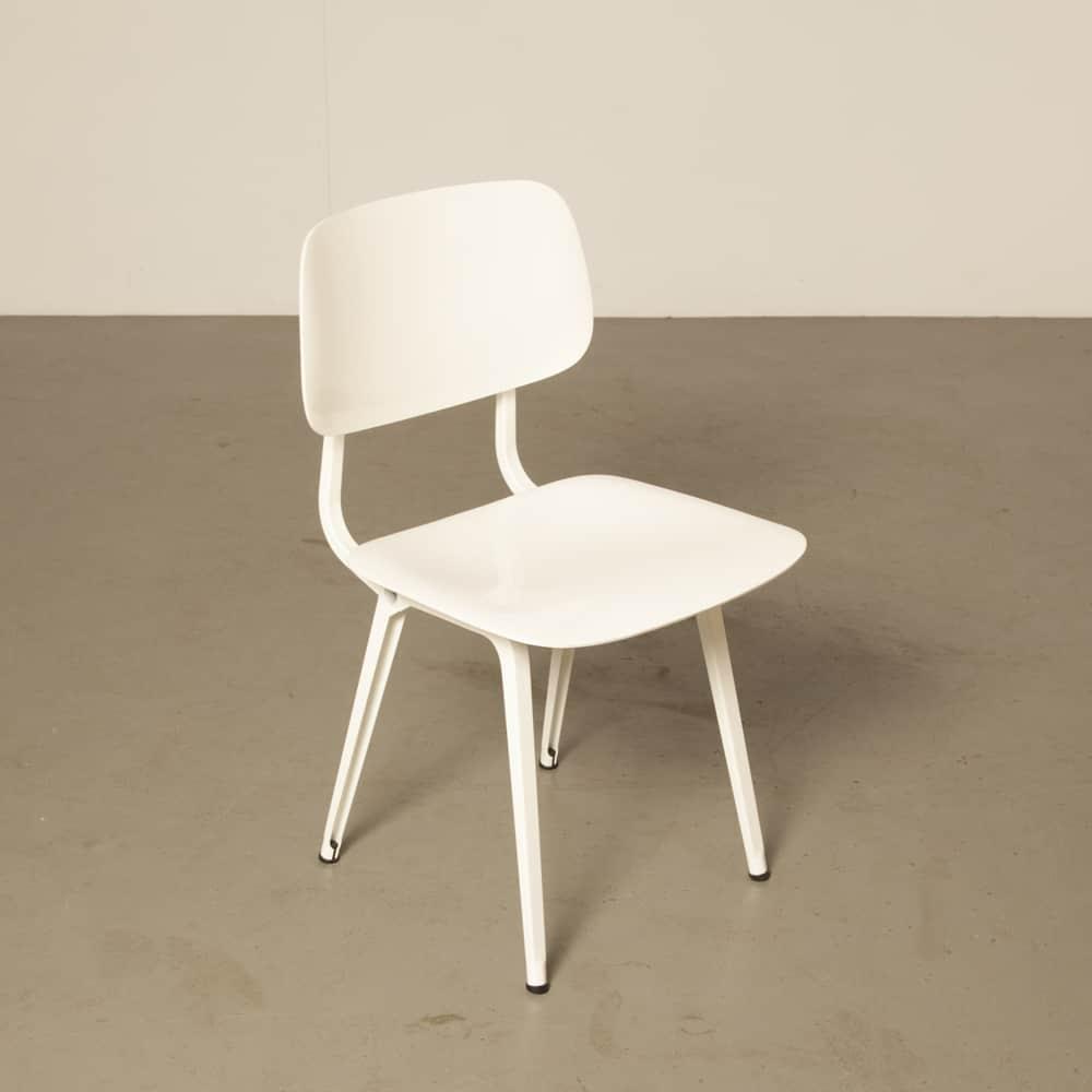 كرسي الثورة Ahrend الأبيض فريزو كرامر الجديد 1950s الخمسينيات الكلاسيكية تصميم أنيق خمر الرجعية الصناعية الهولندية