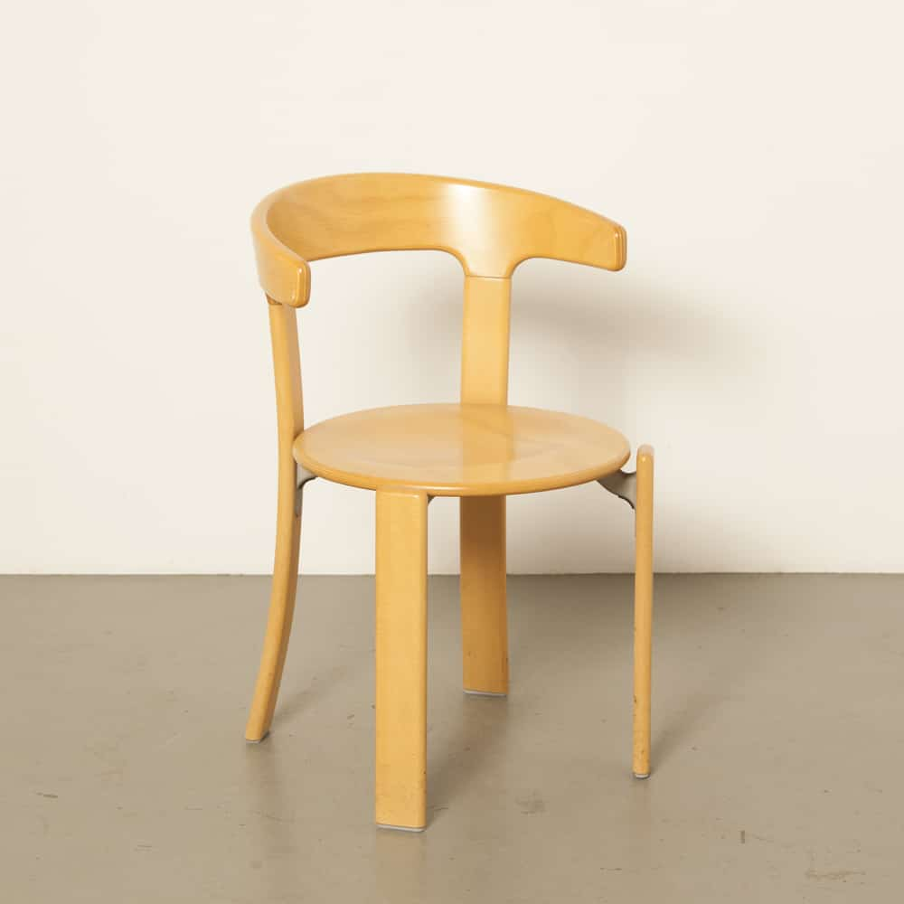Rey Chair Bruno Kusch Co Hallenberg Germany beech cafeteria canteen Dietiker stackable armrests 70s 1970s seventies vintage retro