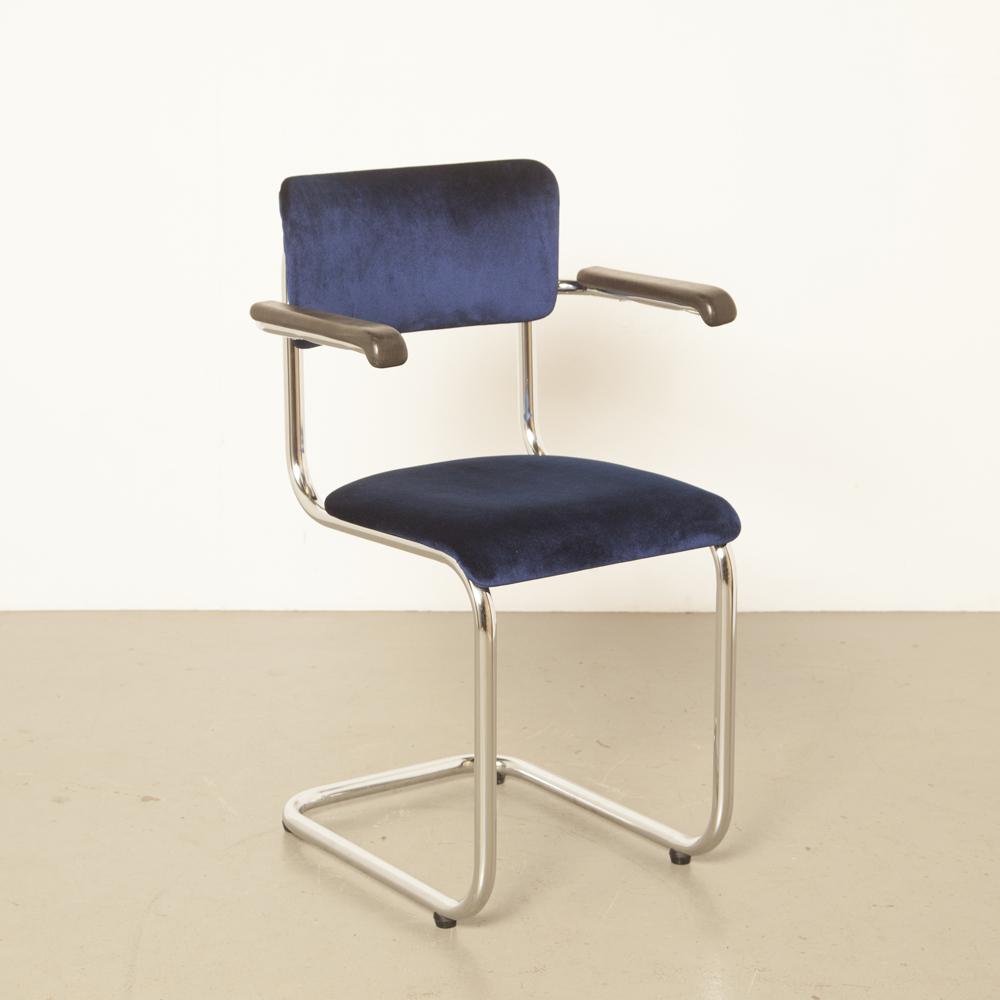 Tubax zwevend buisframe stoel chromen buis geen achterpoten zitplaatsen België Elsene Gillis armleuningen jaren 50 1950 jaren XNUMX vintage retro midcentury modern