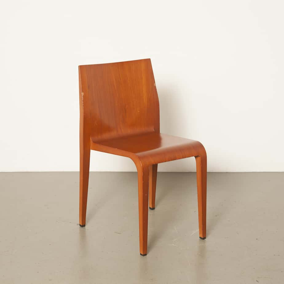 Laleggera chair cherry Riccardo Blumer Alias Italy Injection-moulded polyurethane frame veneered simple elegance very light weight 1990s Italian modern nineties 90s