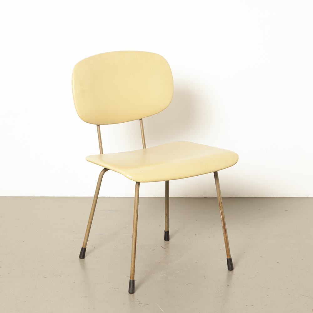 Gispen 116 1245 chair Wim Rietveld Dutch Design Original rod bar-steel beech curved back seat rubber discs upholstered soft yellow skai 1950s design vintage retro 50s fifties