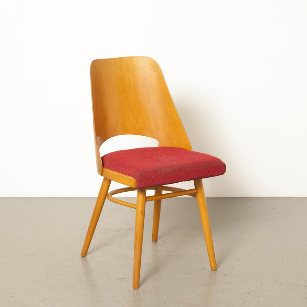 Chair 514 TON Czechoslovakia Oswald Haerdtl Lubomír Hofmann beechwood bent plywood modernist vintage red upholstery patina original retro 60s Thonet 1960s sixties
