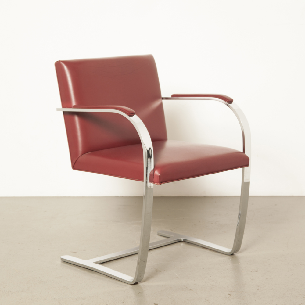 Flat Bar Brno Chair Mies van der Rohe Knoll burgundy red leather heavy chrome frame arm pads iconic simple elegance secondhand design 1930s vintage retro sleek lean clean