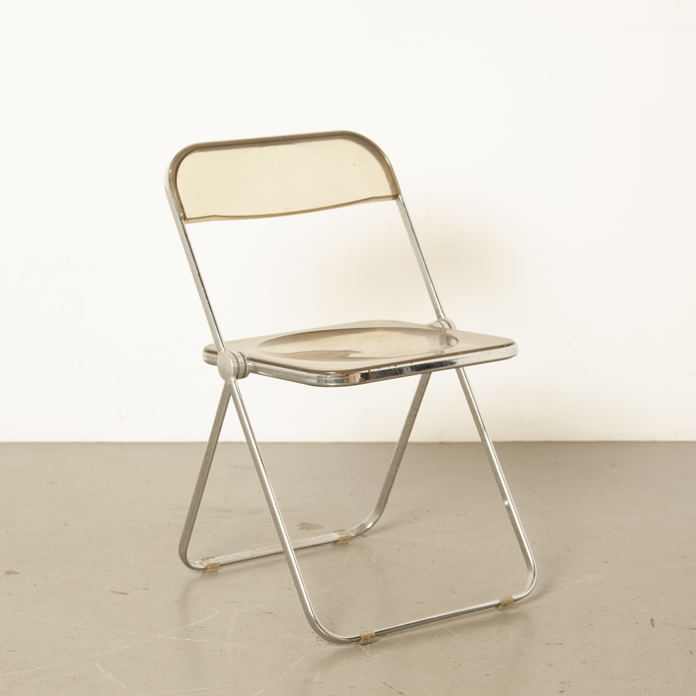 Plia folding chair Castelli foldable flat chrome tubular frame Italy smoked plastic light brown transparent acrylic elegant fantastic 60s vintage retro midcentury modern 1960s sixties