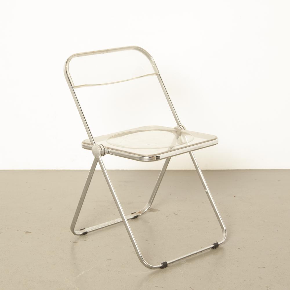 Plia chaise pliante Castelli pliable plat chromé cadre tubulaire Italie en plastique transparent transparent acrylique élégant fantastique italien des années 60 vintage rétro milieu du siècle moderne des années 1960 des années XNUMX