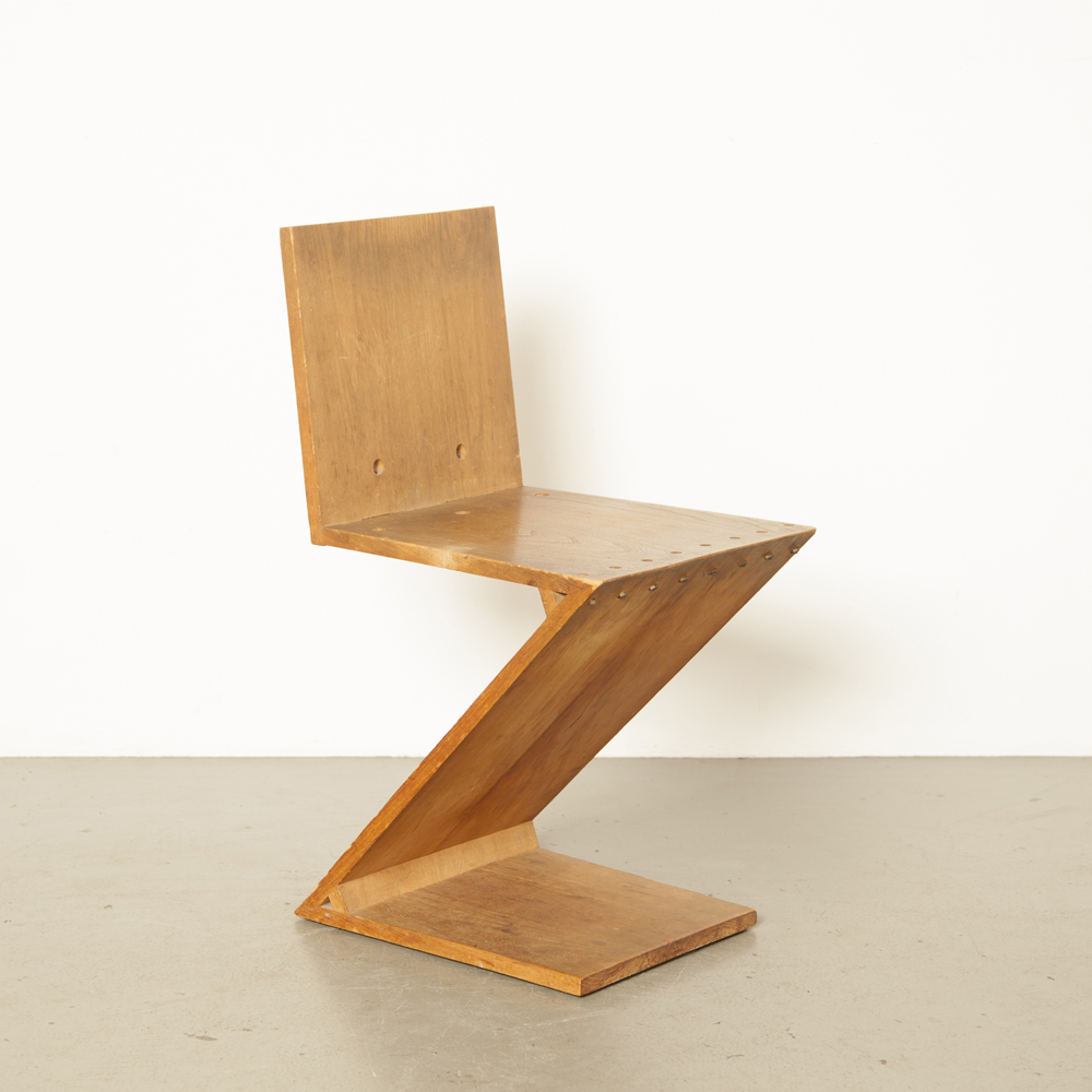 Zig-Zag chair Gerrit Rietveld Metz Co Amsterdam oak oblique brass De Stijl architectural icon iconic Dutch design 1930s minimalist zigzag original patina Schroederhuis thirties