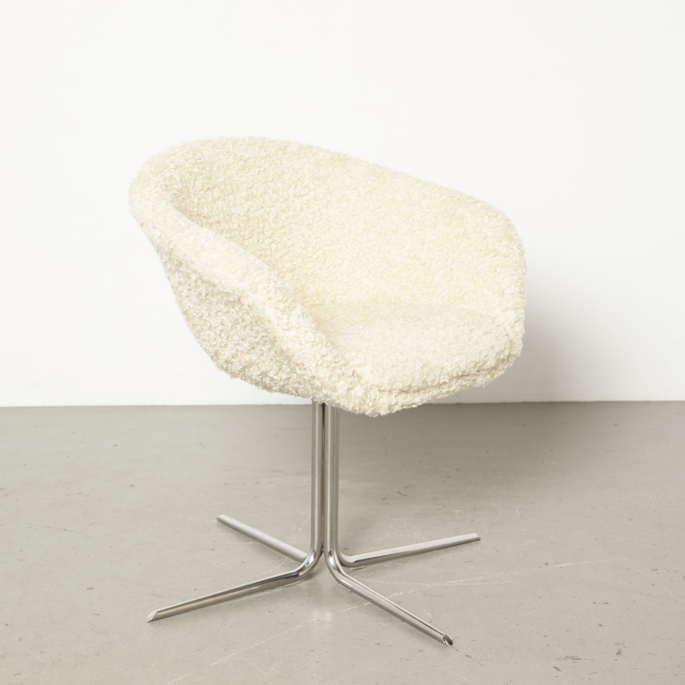Duna 02 chair Lievore Altherr Molina Arper Italy new upholstery sheep wool fur fleece skin shell chromed steel swivel base four toe conference design modern 2010s contemporary