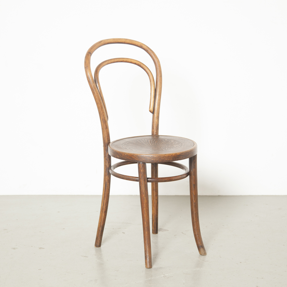 Thonet model 14 chair Fischel Mundus Kohn cafe bistro brown black steamed curved bent wood seat pressed plywood relief embossed design classic vintage retro antique patina