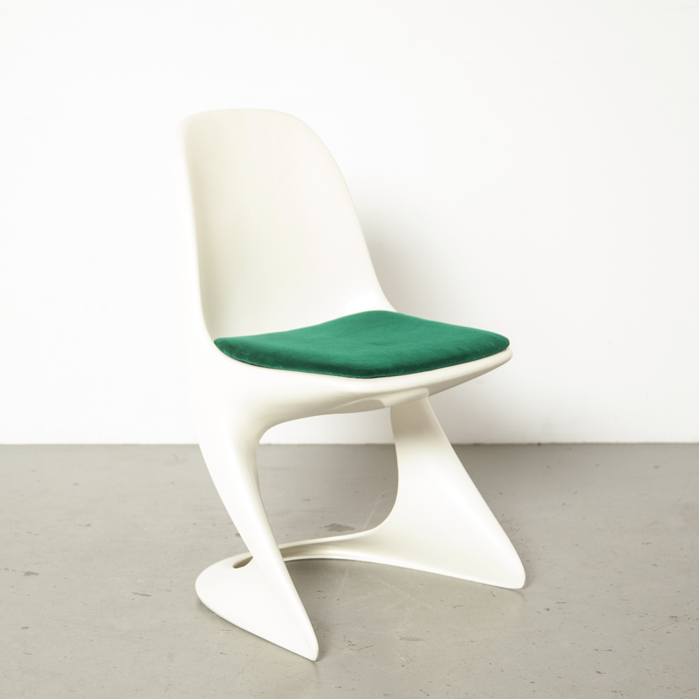 Casalino chair Alexander Begge Casala 1970s seventies white ivory plastic fantastic space age green velour seat stackable vintage retro molded model 2004/2005 original