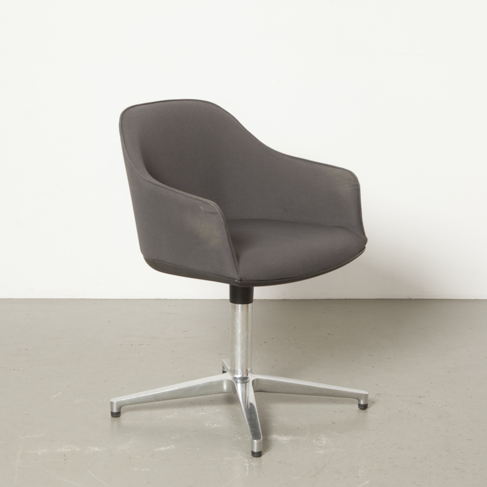 Softshell Chair Ronan Erwan Bouroullec Vitra four-star base polished aluminum Stabilus grey bucket seat graphite anthracite woven fabric swivel secondhand design modern