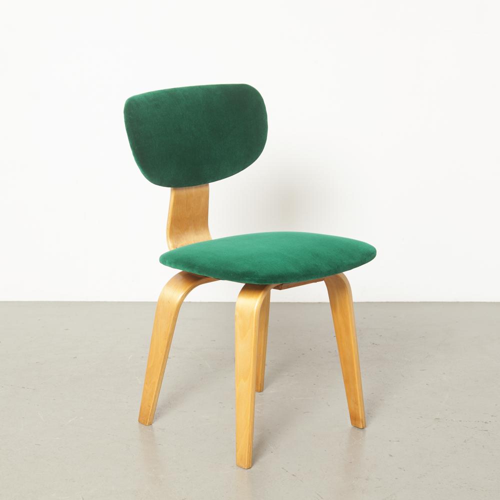 SB03 SB02 chaise Cees Braakman UMS Pastoe Pays-Bas années 1950 années XNUMX nouvelle tapisserie d'ameublement velours vert bouleau série Combex salle à manger courbé laminé vintage rétro design hollandais