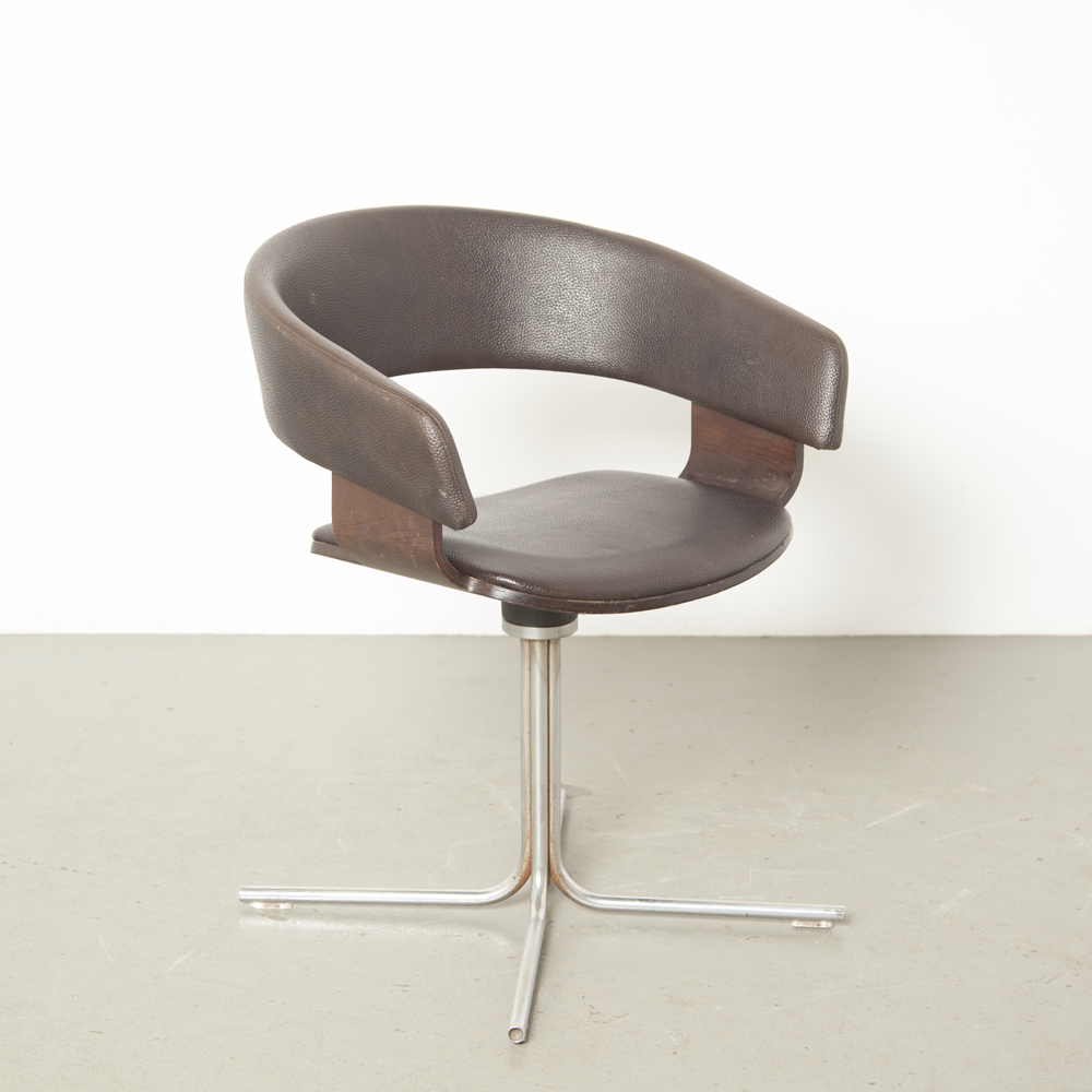 Mollie椅子John Coleman Allermuirイングランドブラウンレザーレットウェンジブナ合板シェルスイベルクロームチューブベースチューリップサイドアームチェアローバック室内装飾デザイン1990年代XNUMX年代ヴィンテージ