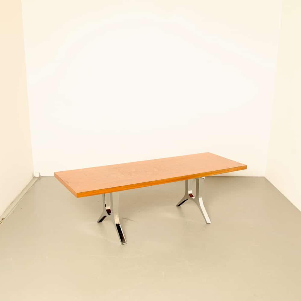 Mesa de centro de cobre vermelho Ein Helbig Tisch pernas cromadas vintage retro dos anos 1970 projeto alemão dos anos 70